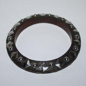 Studded Wooden bangle bracelet